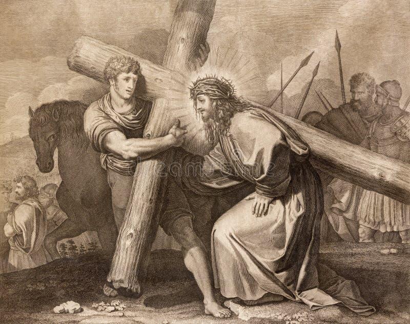 Reggio Emilia - la litografía Jesús es ayudada por Simon de la manera de la cruz de Cyrene en los di Santo Stefano de Chiesa de l fotos de archivo libres de regalías