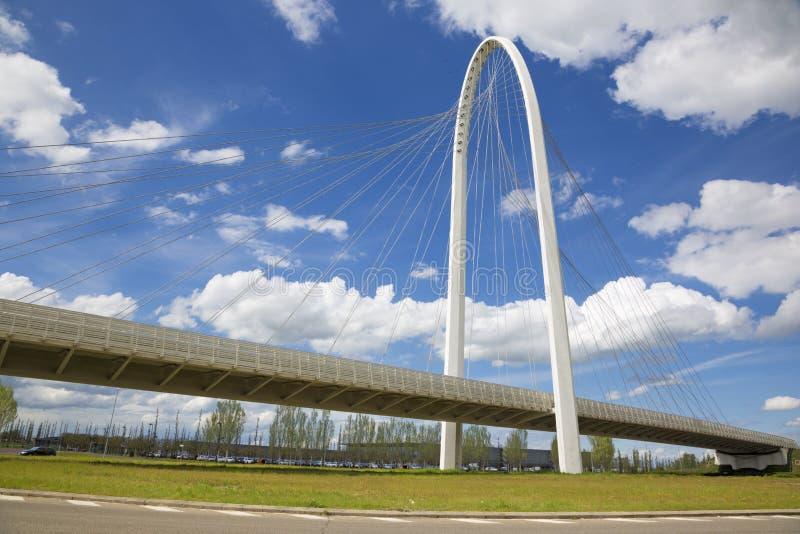 Reggio Emilia - Modern arched bridge by architect Santiago Calatrava.  stock photo