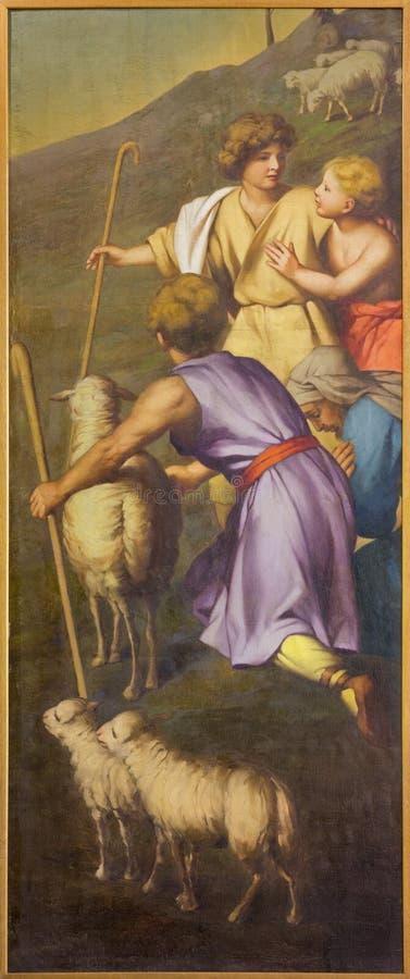 REGGIO NELL'EMILIA, ITALIA - 12 APRILE 2018: La pittura degli sheepherds in dei Cappuchini di Chiesa della chiesa immagini stock libere da diritti