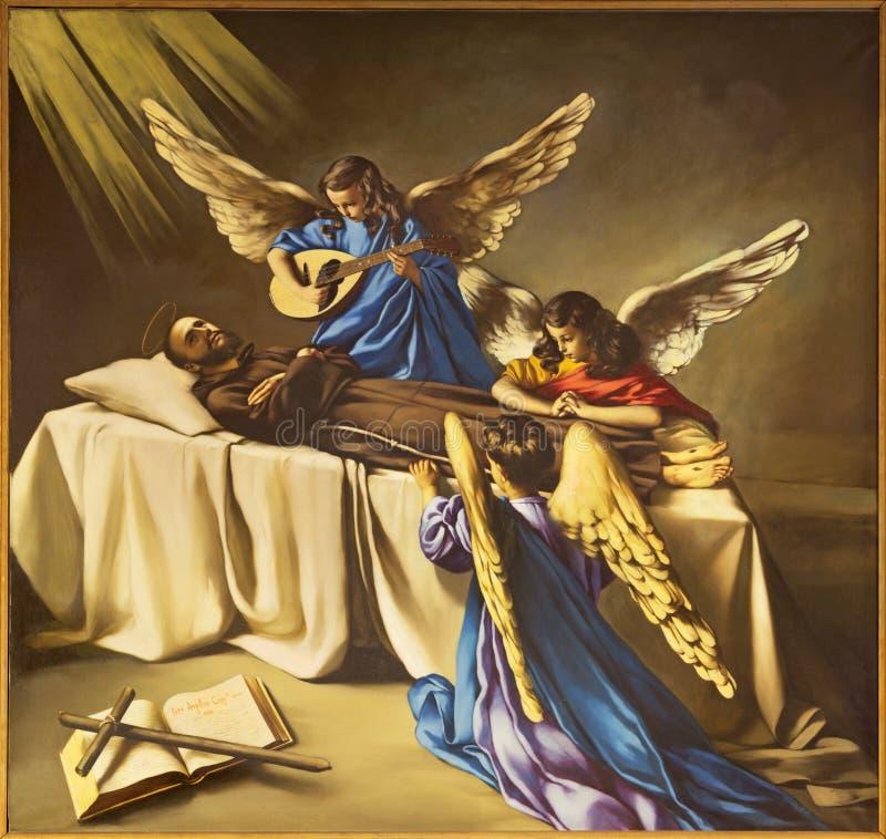 REGGIO NELL'EMILIA, ITALIA - 12 APRILE 2018: La pittura della morte dello St Francis di Assisi in dei Cappuchini di Chiesa della  immagine stock