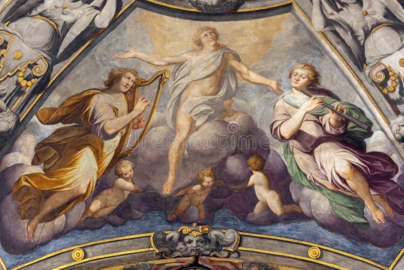 REGGIO NELL'EMILIA, ITALIA: La gloria dell'affresco del Prospero santo dalla C Manicardi, G Ferrari ed A Lugli fotografia stock libera da diritti