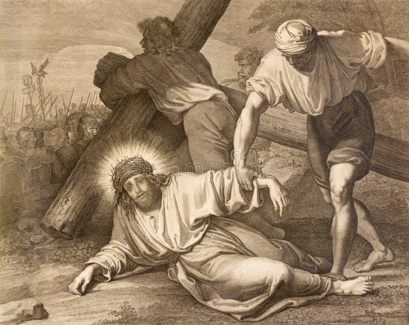 Reggio nell'Emilia - la litografia della caduta di Gesù in corso trasversale trasversale in Di Santo Stefano di Chiesa della chie immagine stock