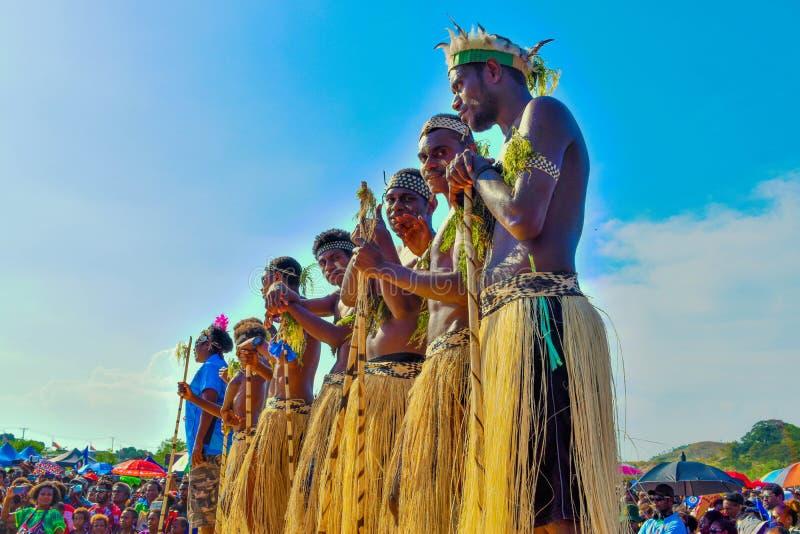 Região autônoma de mostra cultural de Bougainville Crianças de Papuásia-Nova Guiné Grupo original da cultura fotos de stock royalty free