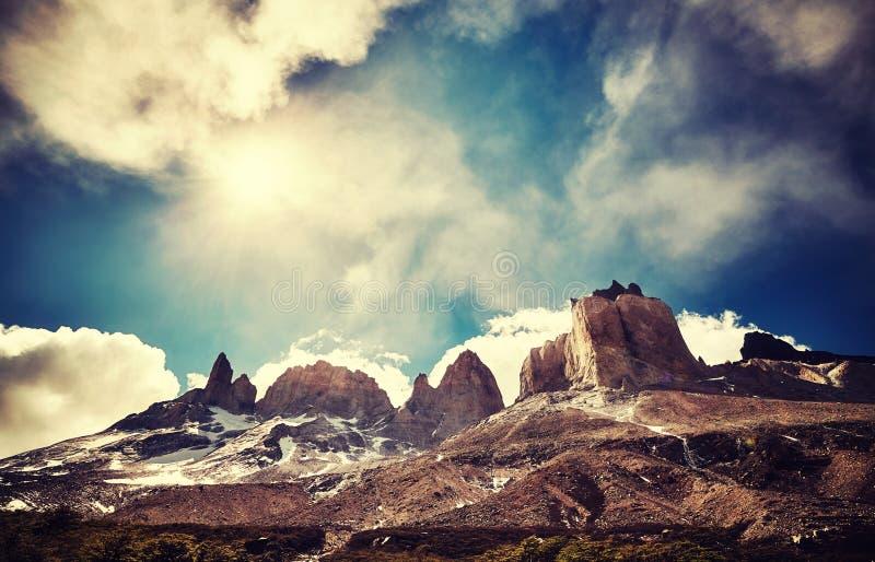 Região selvagem do Torres del Paine, o Chile fotos de stock royalty free