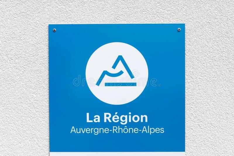 Región Auvergne Rhone-Alpes en la muestra de Francia en una pared fotografía de archivo libre de regalías