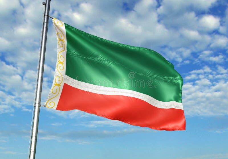 Región chechena de la república de bandera de Rusia que agita con el cielo en el ejemplo realista 3d del fondo stock de ilustración