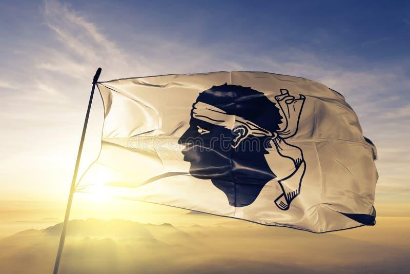 Región de Córcega de tela del paño de la materia textil de la bandera de Francia que agita en la niebla superior de la niebla de  libre illustration