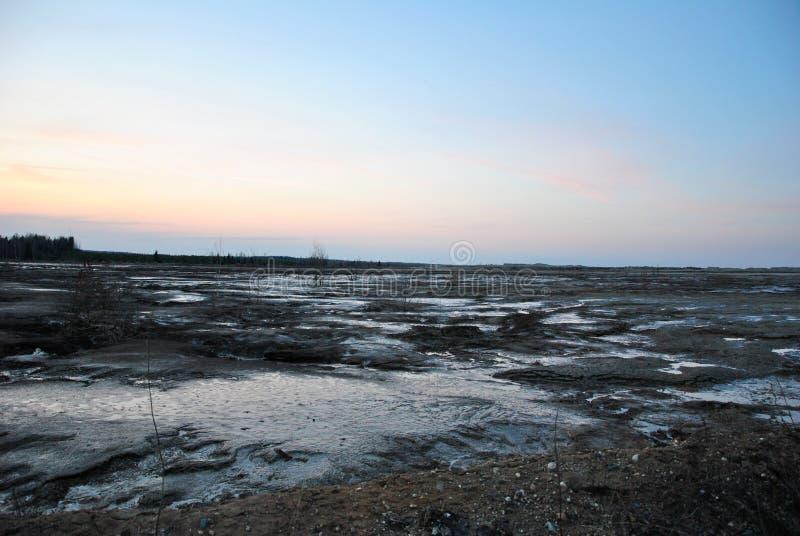 Región de Ivanovo, mina abandonada, pantano imagenes de archivo