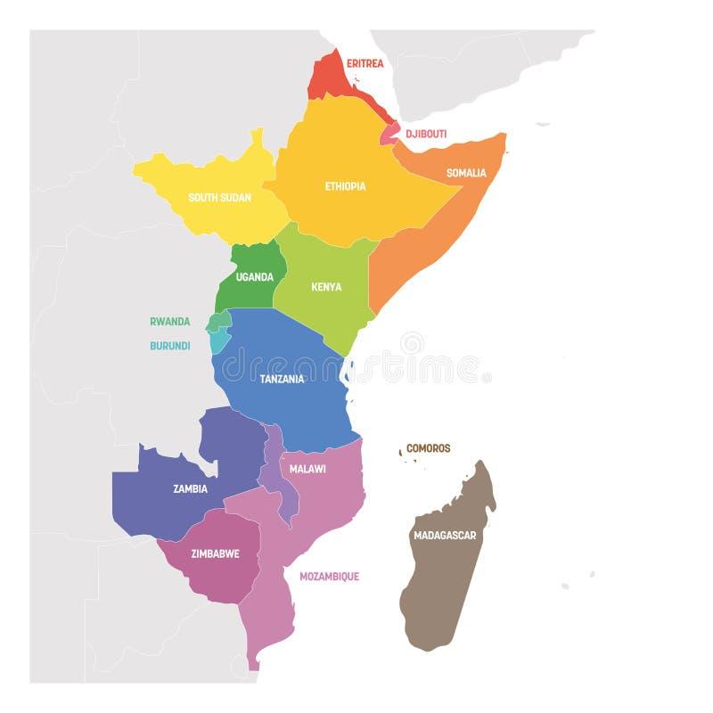 Región de la África del Este Mapa colorido de países en África del este Ilustración del vector ilustración del vector