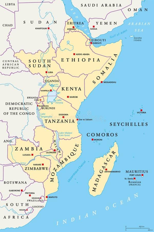 Región de la África del Este, mapa político libre illustration