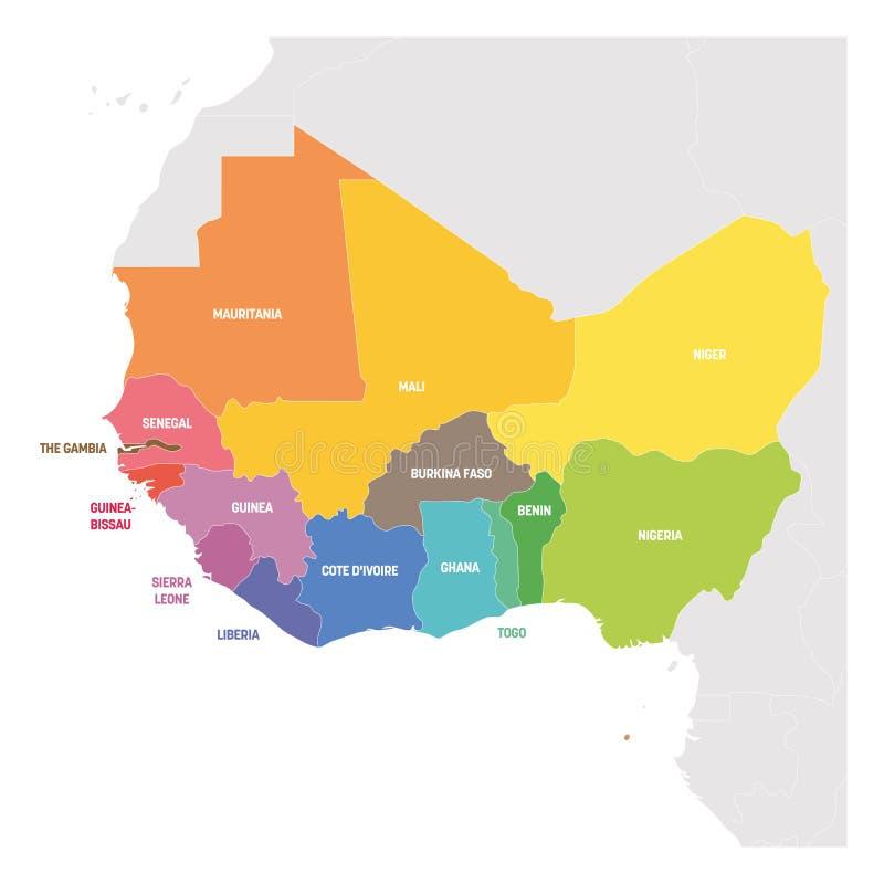 Región de las Áfricas occidentales Mapa colorido de países en África occidental Ilustración del vector ilustración del vector