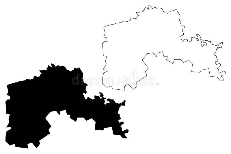Región del norte la República de Kazajistán, regiones de Kazajistán de ejemplo del vector del mapa de Kazajistán, bosquejo Kazaji stock de ilustración