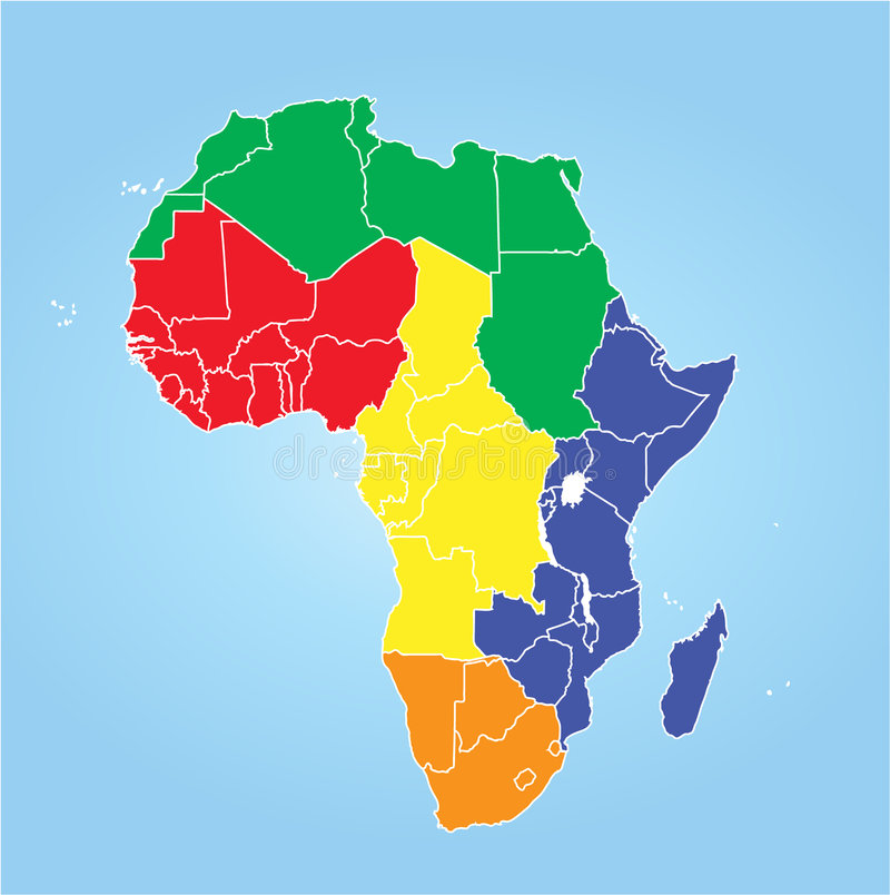 Regiões de África ilustração royalty free