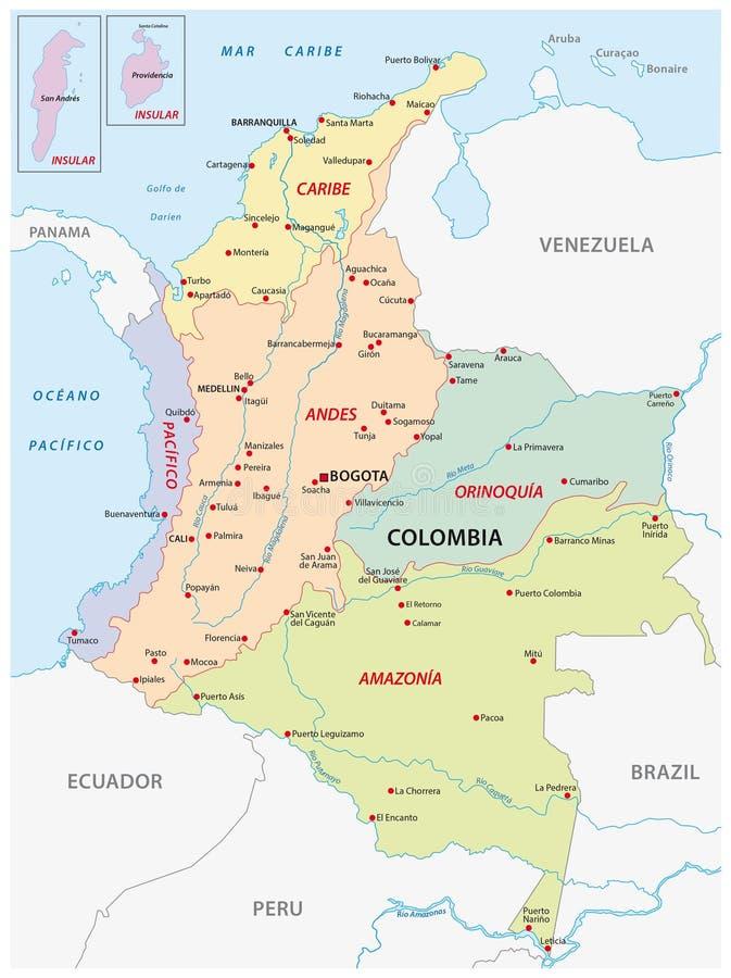 Regiões naturais de Colômbia, mapa ilustração stock