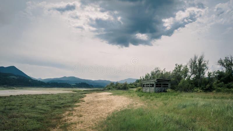 Regi?es pantanosas e p?ntanos na reserva da biosfera de Urdaibai no pa?s Basque foto de stock royalty free
