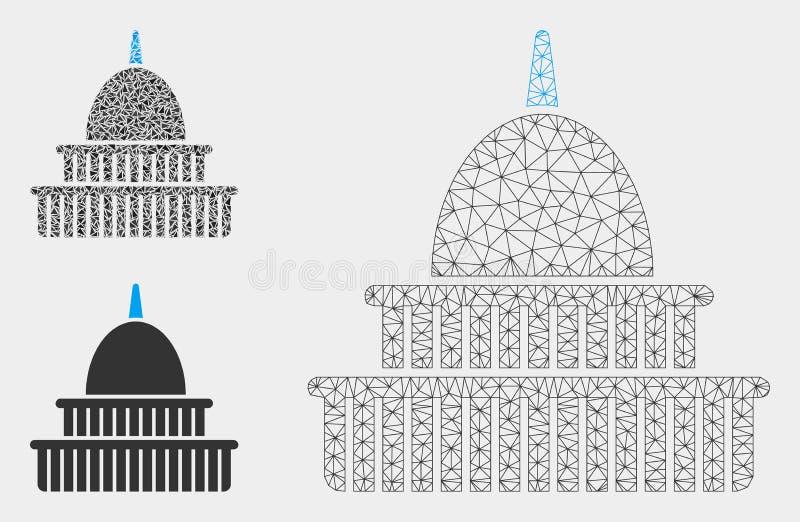 Regierungs-errichtende Vektor-Maschen-2D Modell-und Dreieck-Mosaik-Ikone lizenzfreie abbildung