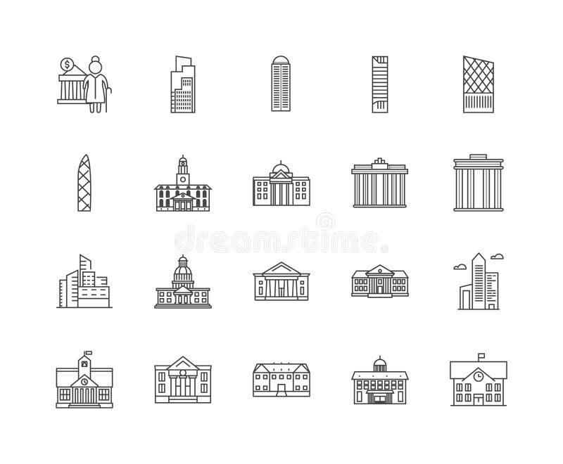 RegierungsBaulinie Ikonen, Zeichen, Vektorsatz, Entwurfsillustrationskonzept stock abbildung