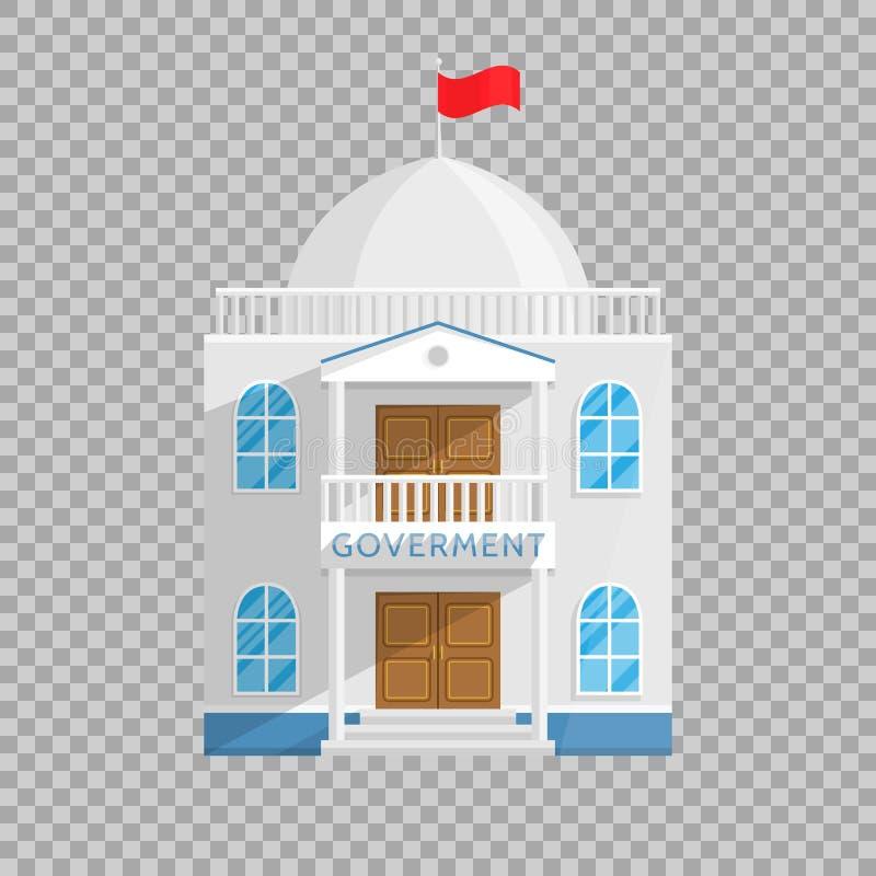 Regierungsgebäude in der flachen Art auf transparenter Hintergrund Vektor-Illustration Senats-Regierungs-Haus und stock abbildung