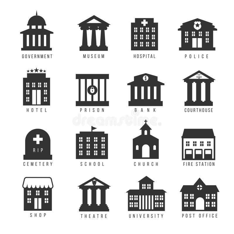 Regierungsgebäude-Ikonensatz Vector Gebäude wie Universität, Polizeikommissariat und Rathaus, Krankenhausmuseum lizenzfreie abbildung