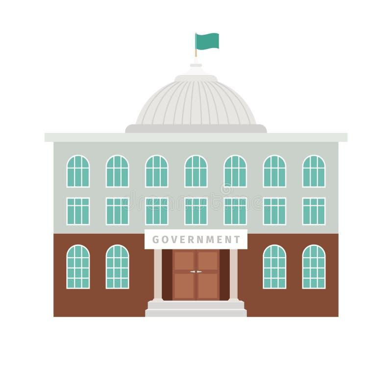 Regierungsgebäude mit Haube und Flagge stock abbildung