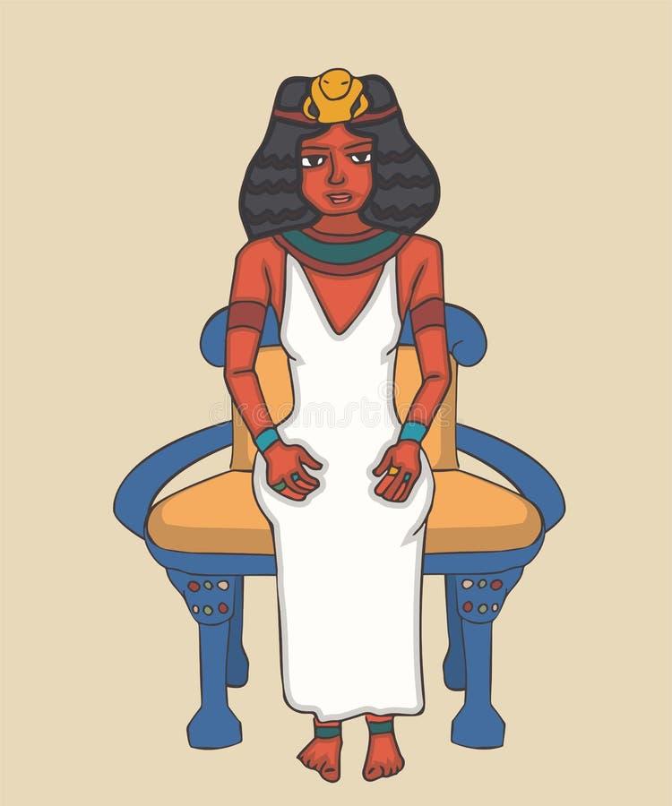 Regina antica di egyption sul trono royalty illustrazione gratis