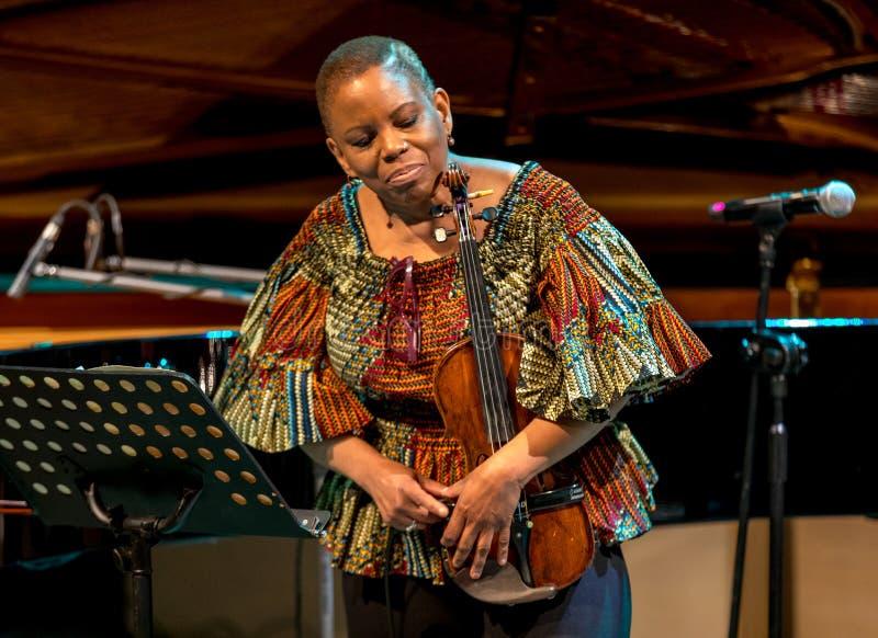 Regina Carter, violinista americano del jazz un tr?o de AMC vivo en la etapa del museo de Manggha del arte y de la tecnolog?a jap foto de archivo
