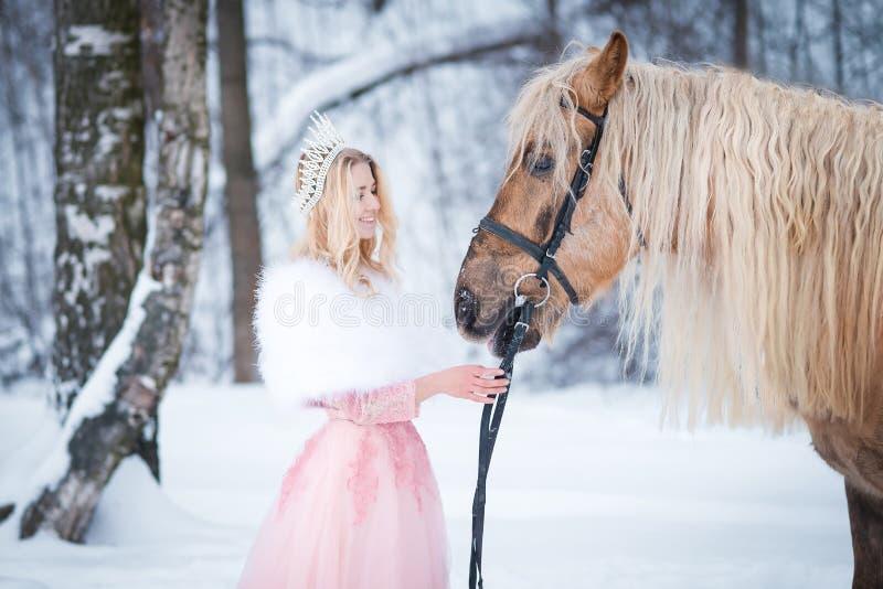 Regina in corona con il cavallo nell'inverno Ambiti di provenienza astratti di fantasia con il libro magico immagini stock libere da diritti