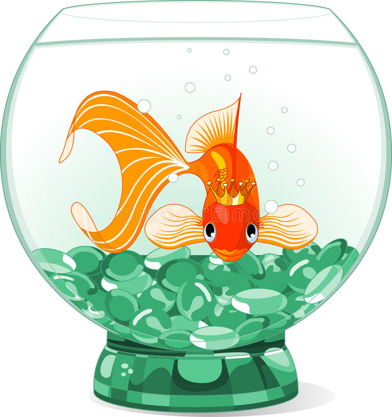 Regina del Goldfish del fumetto nell'acquario illustrazione di stock