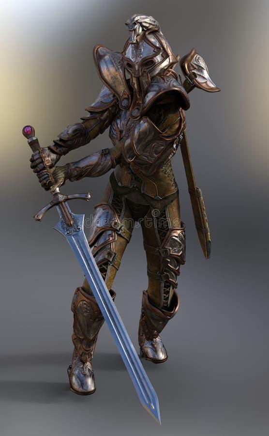 Regina del guerriero con la spada illustrazione di stock