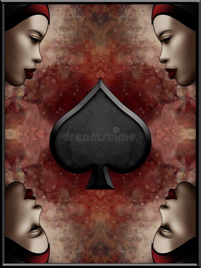 Regina della carta delle vanghe illustrazione vettoriale