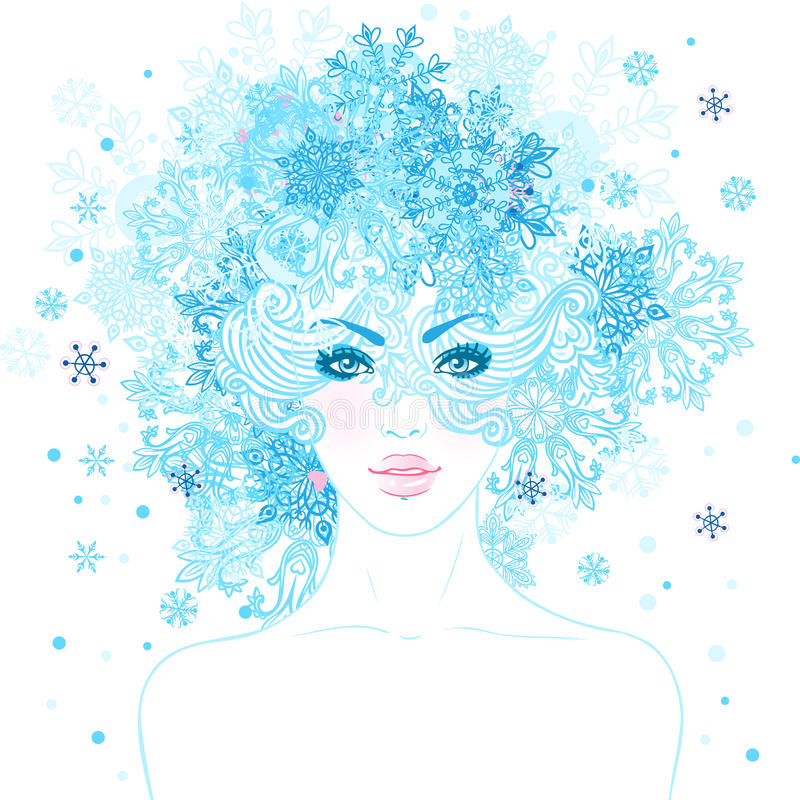 Regina della neve di fantasia: giovane bella ragazza con i fiocchi di neve in lei illustrazione vettoriale