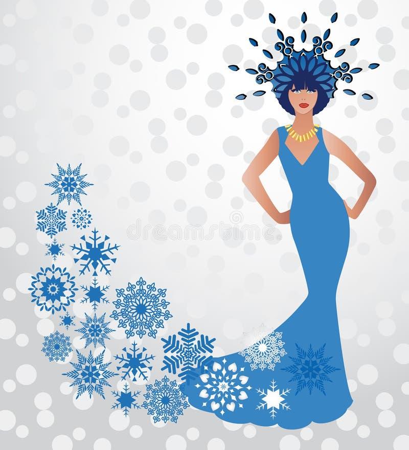 Regina della neve di inverno di modo di bellezza royalty illustrazione gratis