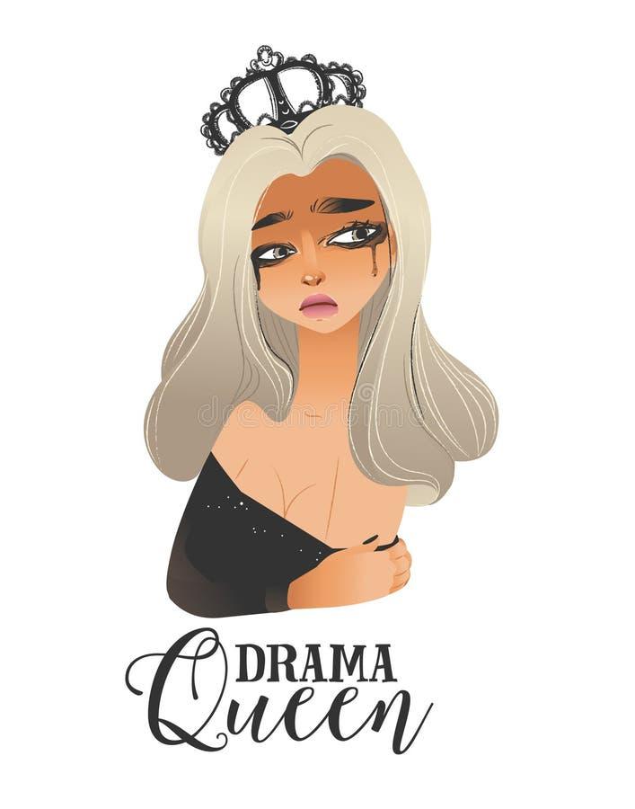 Regina di dramma - donna bionda in corona nera e vestito frizzante che gridano con il fronte triste illustrazione di stock