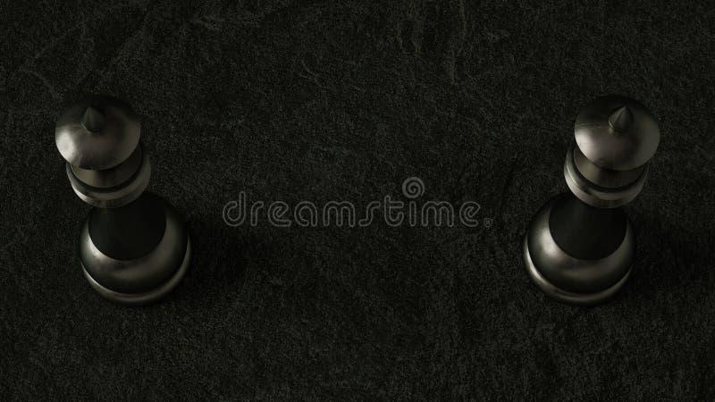 regina di scacchi 3D su fondo scuro rappresentazione 3d Illuminazione cinematografica immagine stock