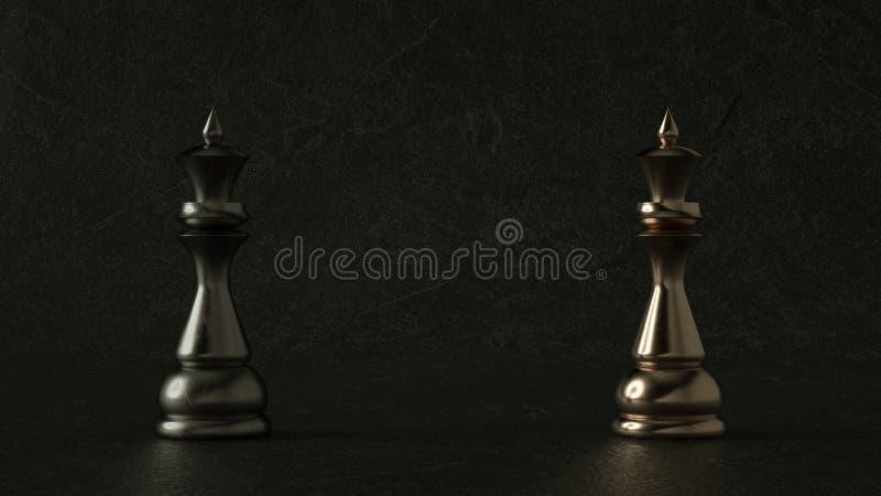 regina di scacchi 3D su fondo scuro rappresentazione 3d Illuminazione cinematografica fotografia stock