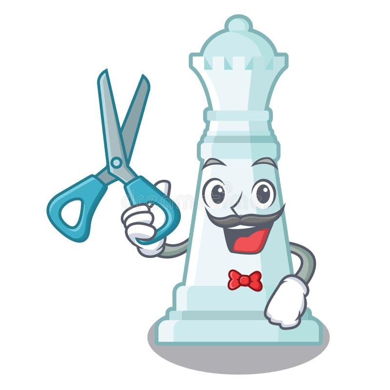 Regina di scacchi del barbiere isolata nel carattere royalty illustrazione gratis