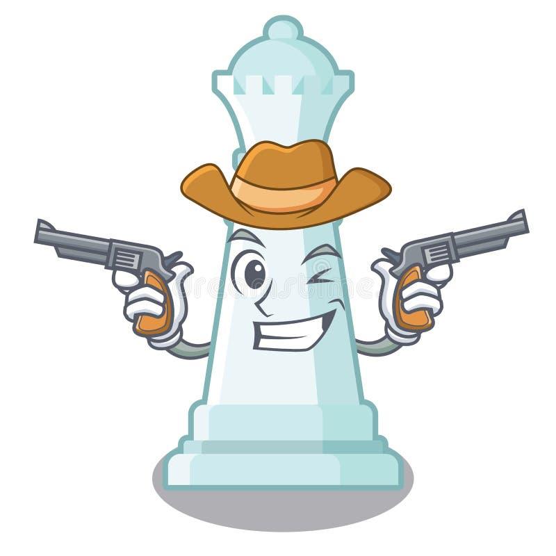 Regina di scacchi del cowboy isolata nel carattere illustrazione di stock