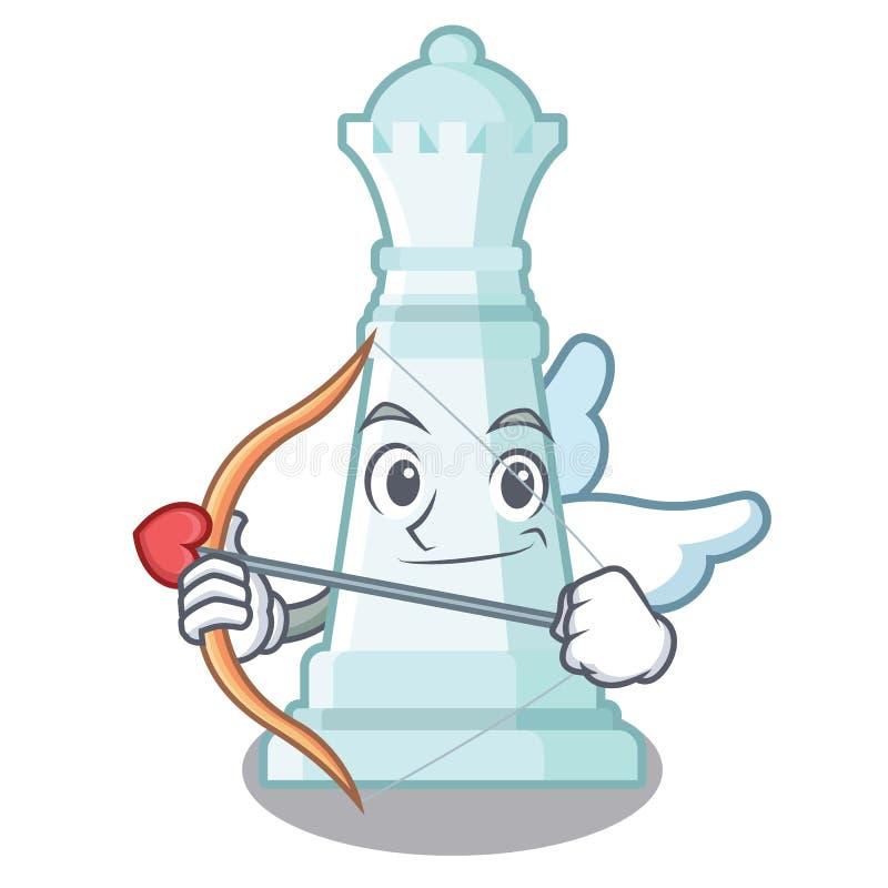 Regina di scacchi del cupido isolata nel carattere illustrazione di stock