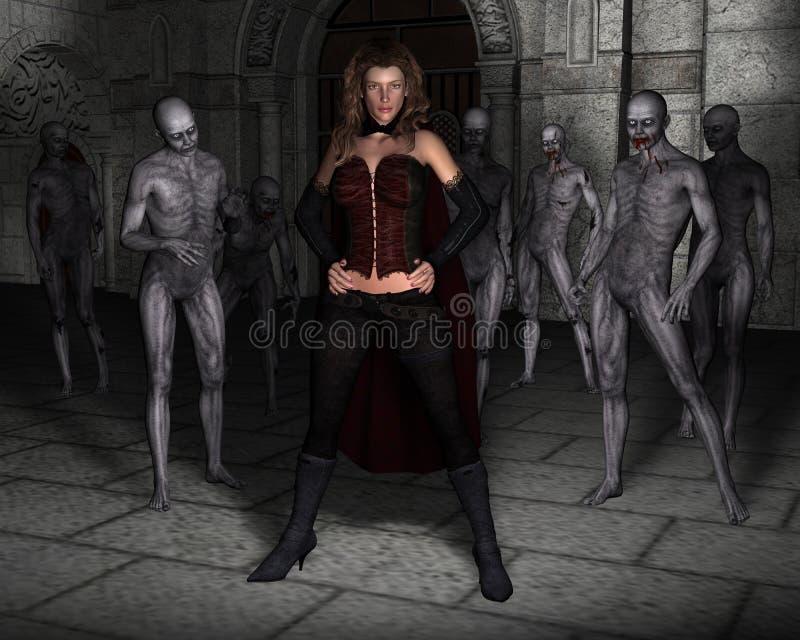 Regina diabolica della donna, illustrazione del castello illustrazione vettoriale