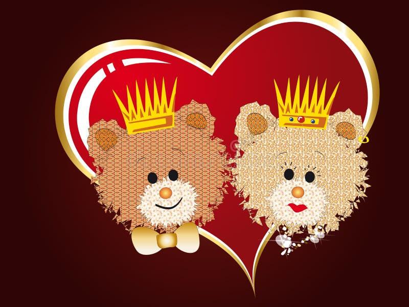 Regina ed orsi del re royalty illustrazione gratis