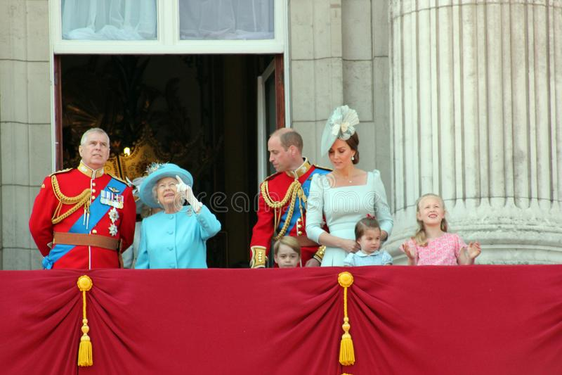 Regina Elizabeth, Londra, Regno Unito, il 9 giugno 2018 - principe George William, Charles, Kate Middleton, Andrew & principessa fotografia stock