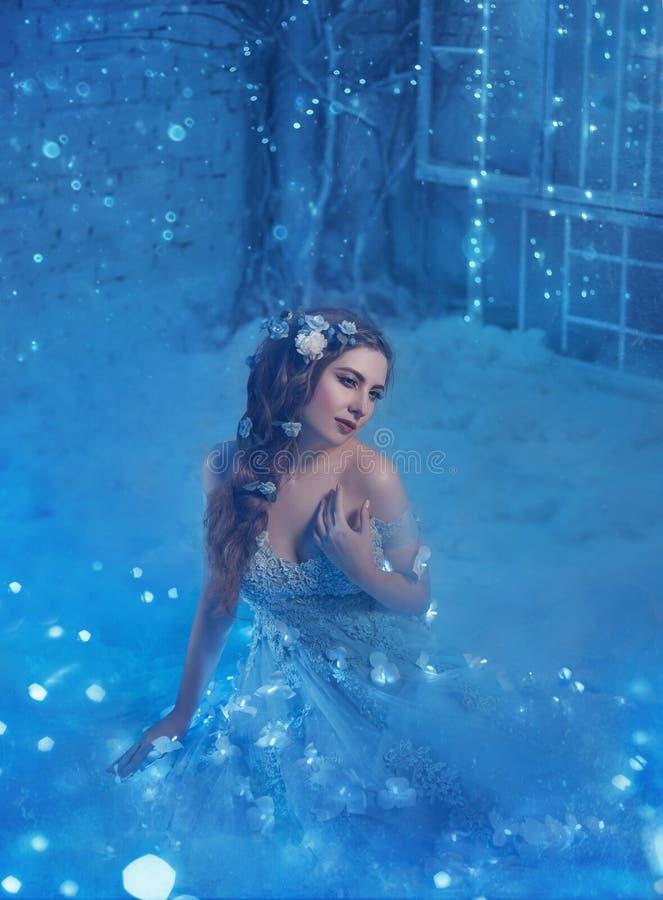 Regina fantastica della neve in un vestito lussuoso, in una stanza di ghiaccio L'interno riempie di magia, il suo vestito scintil immagini stock