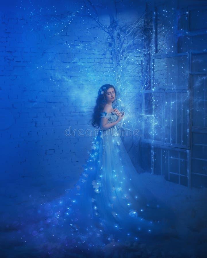 Regina fantastica della neve in un vestito lussuoso, in una stanza di ghiaccio L'interno riempie di magia, il suo vestito scintil fotografie stock libere da diritti