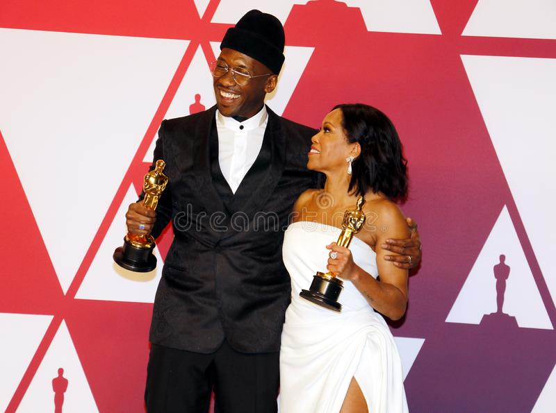 Regina King, Mahershala Ali. Regina King and Mahershala Ali at the 91st Annual Academy Awards - Winners Room held at the Hollywood and Highland in Los Angeles stock photo