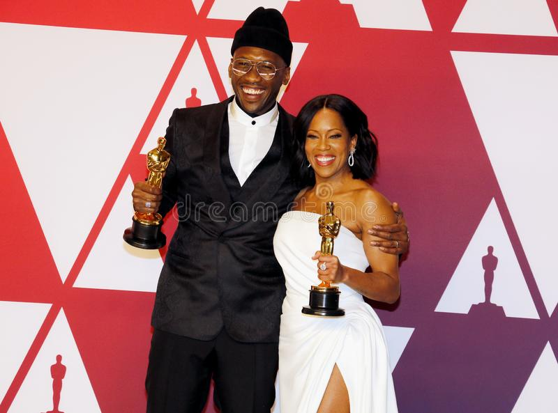 Regina King, Mahershala Ali. Regina King and Mahershala Ali at the 91st Annual Academy Awards - Winners Room held at the Hollywood and Highland in Los Angeles stock photography