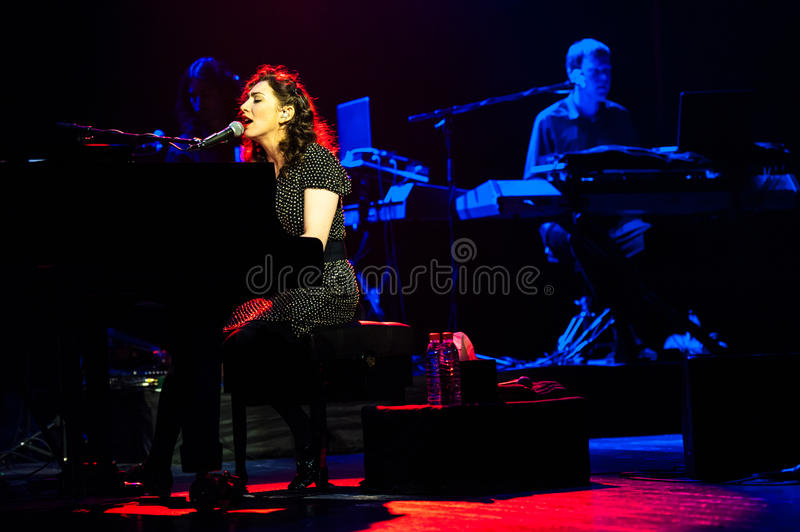 Regina Spector. July 15, 2012 - Moscow, Russia - American singer and songwriter Regina Spektor performing live at Crocus City Hall, Moscow, Russia stock photography