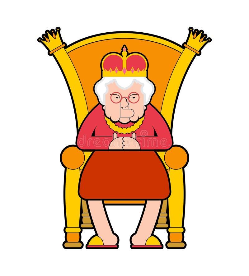 Regina sul trono Capo della signora anziana Sedia reale Illustrazione di vettore royalty illustrazione gratis