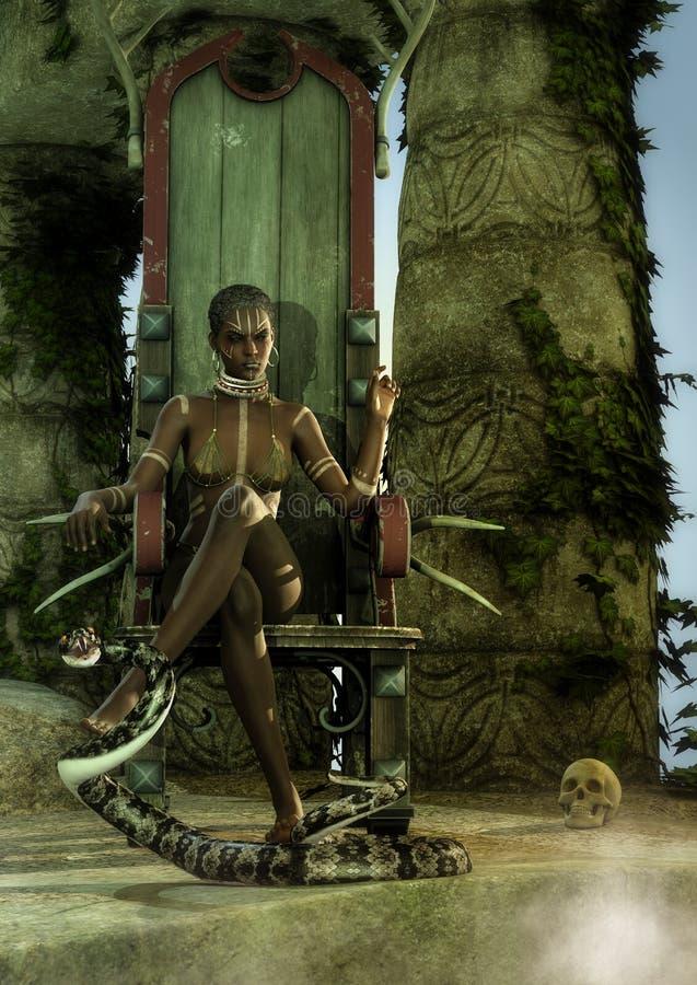 Regina tribale che si siede in trono di legno con un serpente del veleno royalty illustrazione gratis