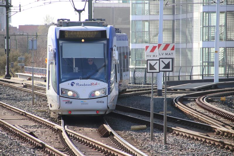 Regio Citads tram vehicle on the rails for Randstadrail in The Hague operated by HTM at station Den Haag Laan van Noi. royalty free stock photography