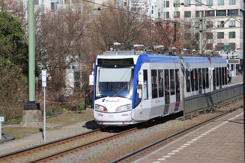 Regio Citads tram vehicle on the rails for Randstadrail in The Hague operated by HTM at station Den Haag Laan van Noi. royalty free stock photos